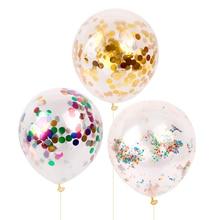 10p 12inch Clear Confetti Balloon Latex Ballon Happy Birthday Balloons Wedding Decoration Event Party Supplies