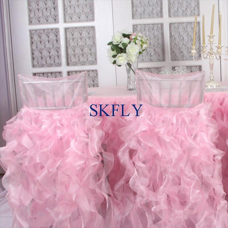 Freundschaftlich Ch007h Heißer Verkauf Skfly Elegante Schöne Phantasie Hochzeit Nach Maß Gekräuselte Lockige Weide Baby Rosa Organza Stuhl Abdeckung