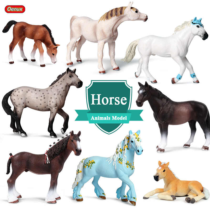 Oenux Farm Animals Horse Model Simulation Wildlife Steed Quarter Clydesdale Horse Action Figures Figurines PVC Collection Toy