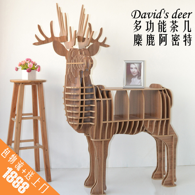 Creative home furnishing practical side of several racks of elk wooden shelf coffee table Console Tables