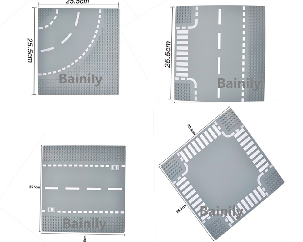 Crossroad Curve T-Junction Road Plate Building Blocks Bricks Base Plate Models City Street Baseplate Compatible LegoINGly Batman