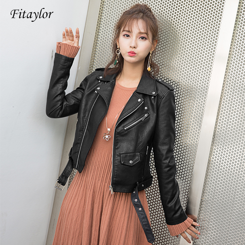 Fitaylor Women Faux Soft   Leather   Jacket Autumn Pu   Leather   Motorcycle Black Coat Female Turn-down Collar With Belt Short Jacket