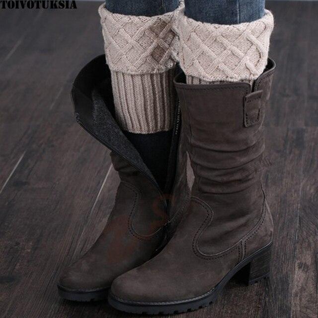 Toivotuksia Slobkousen Haak Knit Boot Manchetten Boot Sokken Haak