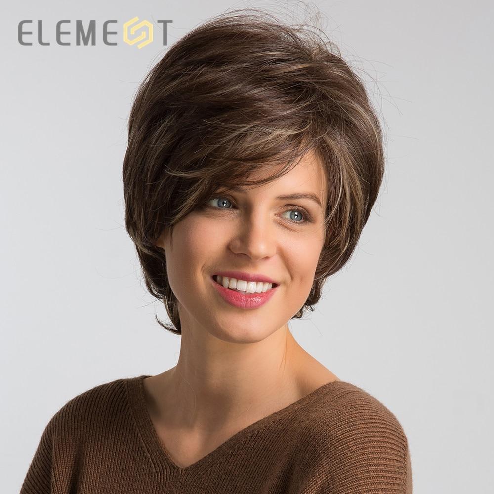 Eleman sentetik 6 inç kısa doğal dalga saç peruk Mix kahverengi tutkalsız Cosplay parti yedek peruk kadınlar için yüksek yoğunluklu
