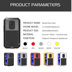 Image 5 - LOVEMEI חזק מתכת עמיד למים מקרה עבור Huawei Mate 20 לייט Mate20 lt אלומיניום הלם עפר הוכחת כיסוי עם זכוכית גורילה סרט