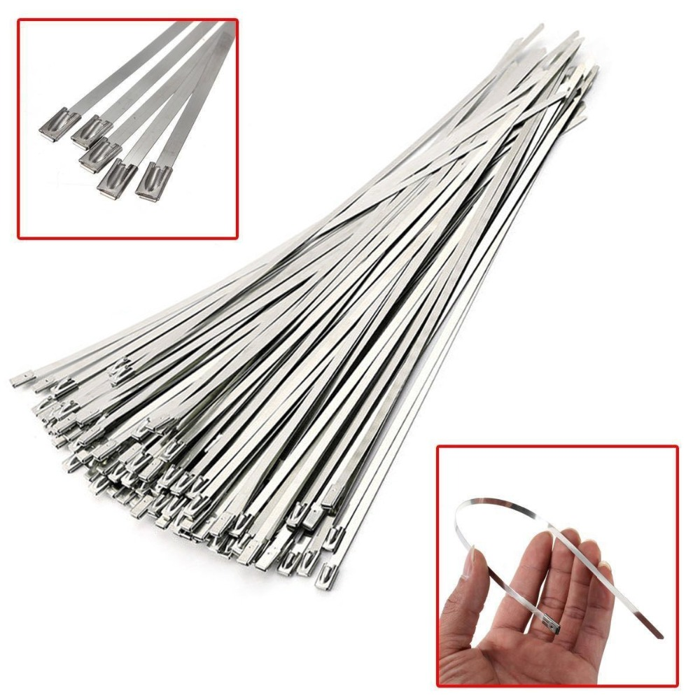 100pcs 7.9 Inches/4.6*200mm Stainless Steel 304 Metal Cable Tie width Zip Strap Locking Exhaust 100pcs lot stainless steel cable tie 7 9x1200 for wire cable