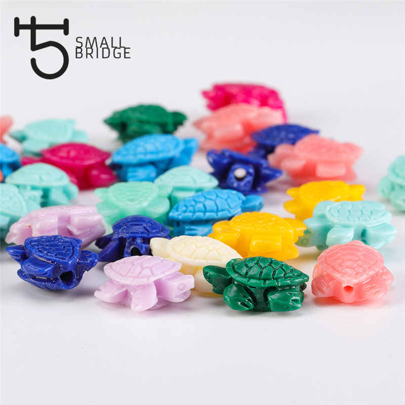 9x12mm Loose Plastic Acrylic Beads For Necklace Bracelet Making Diy Materials Multicolor Sea Turtles Beads Wholesale Q902(China)