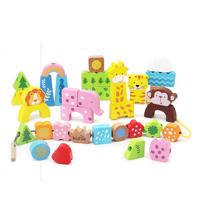 Children's Wooden Early Education Toys Colorful Beaded Blocks Game Traffic / Animal Cognitive Beaded Montessori Games