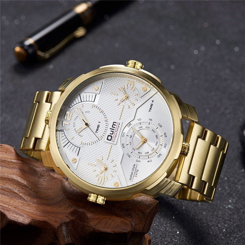 2018 Newest Oulm Watch Men Mens Quartz Watch Luxury Gold Stainless Steel Watch Military Sport Watch Men Big Size Four Time Zone shiweibao cool watch men sport watch men golden big case four time zones military watches date leather strap mens quartz watches