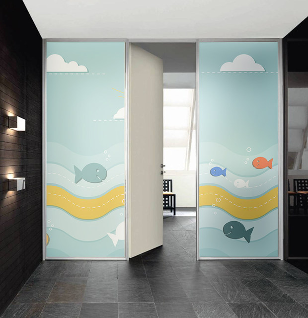 Online shop ocean fish window sticker frosted glass film cover self use glass surfaces such as windows sliding doors shop window etc usage decorative heat insulation anti uv protection of privacy etc planetlyrics Gallery