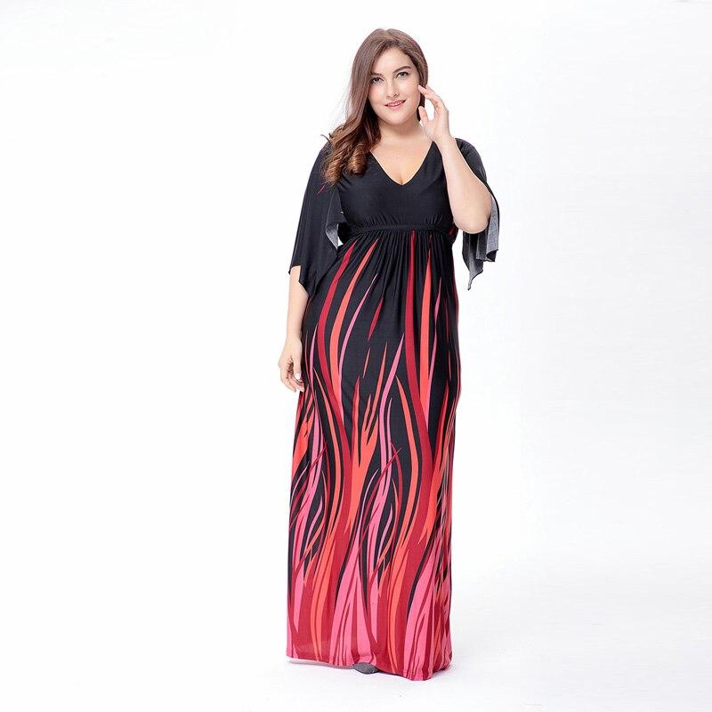 2017 women fat mm elegant print plus size dress summer female big