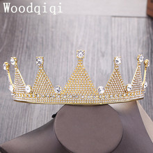 Woodqiqi Luxury Queen Crown Tiara for Bride Pageant Prom Wedding Hair Accessories Head Jewelry with Clear rhinestones