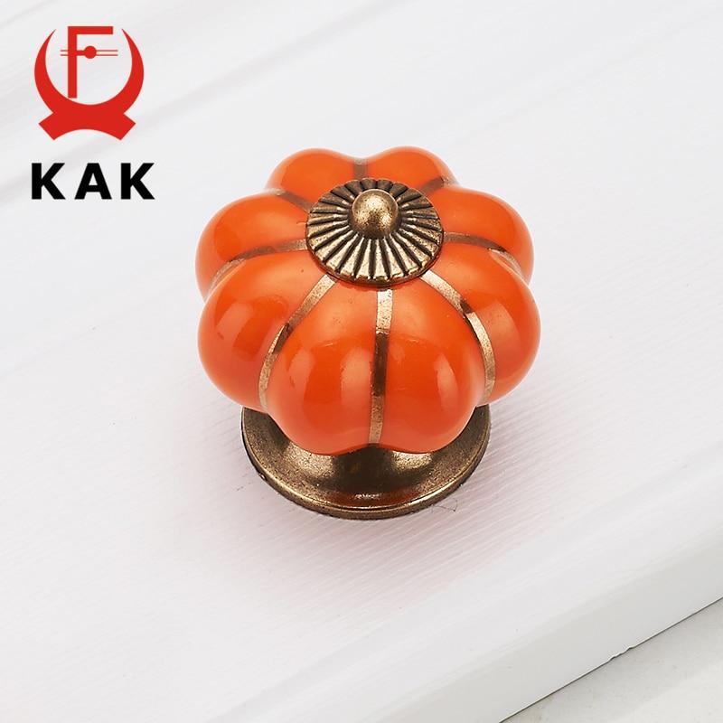 Купить с кэшбэком KAK Pumpkin Ceramic Handles 40mm Drawer Knobs Cupboard Door Handles Single Hole Cabinet Handles with screws Furniture Handles
