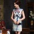 TIC-TEC chinese cheongsam short qipao women slim Beijing Opera print modern elegant formal tradicional oriental dresses P2829