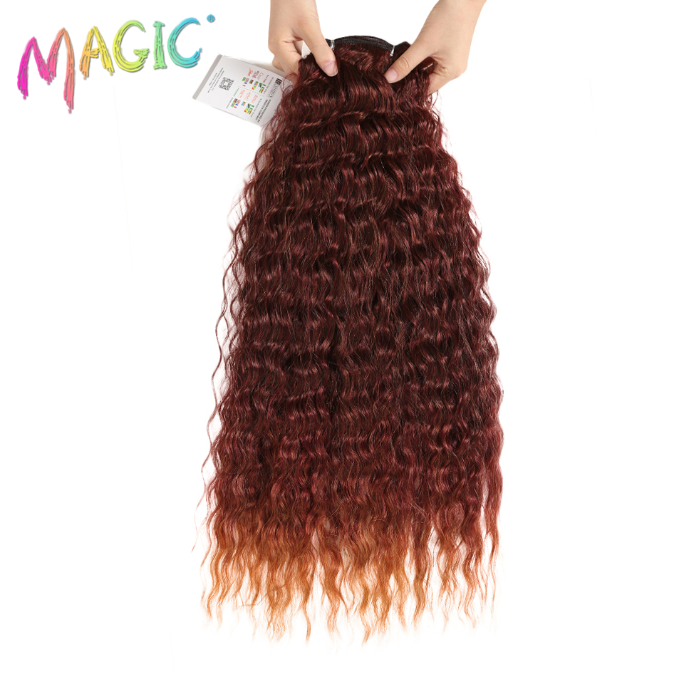 "Magic Ombre Deep Curly Hair Bundles 28""30""32""Inch Synthetic Hair Extensions Weaves High Temperature Fiber Hair For Black Women"