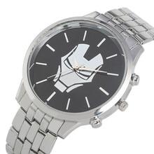 Fashion Quartz Watch Movement for Men Unique Iron Man Pattern Watches Practical Folding Clasp with Safety Buckle Wristwatch цена