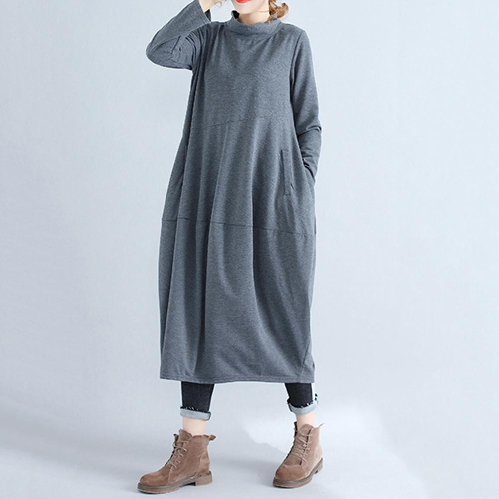 Vintage Women Plus Size Solid Color Mock Neck Long Sleeve Loose Lantern Dress new