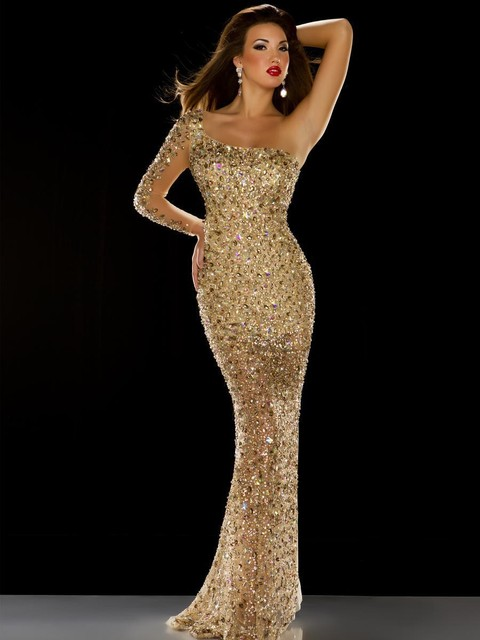 46685f5f8f3 Sexy Prom Dresses One Shoulder Long Sleeve Mermaid Gold Sequins Rhinestones  Beaded Gorgeous Formal Dress Party Evening Gowns