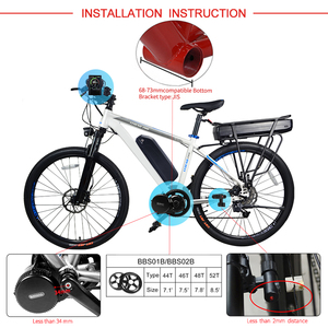 Image 2 - Bafang Kit de conversión de bicicleta eléctrica BBS02B, Motor medio de 48V y 750W, 52V, 14Ah, 48v, 12Ah, 17,5ah, Samsung, 68 73mm