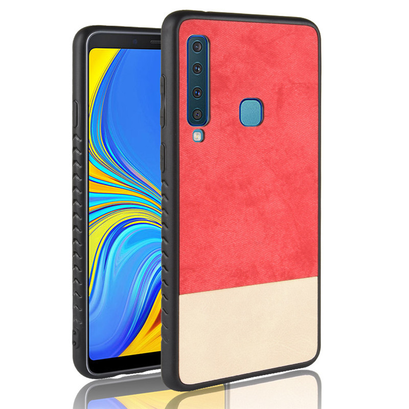 A9s Case Color Block Fabric + Leather Art Simple Case for Samsung Galaxy A9 2018 A9S A9 Star Pro Cover 6.3'' Full Cover Bumper
