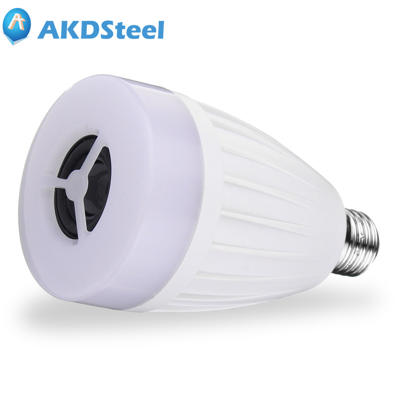 AKDSteel E27 APP Remote Control Smart LED Light Bulb Bluetooth Speaker Music Play Multi Colors Changes Mobile Smartphone Newest mipow e27 bluetooth 4 0 smart led bulb wireless app control 100 240v