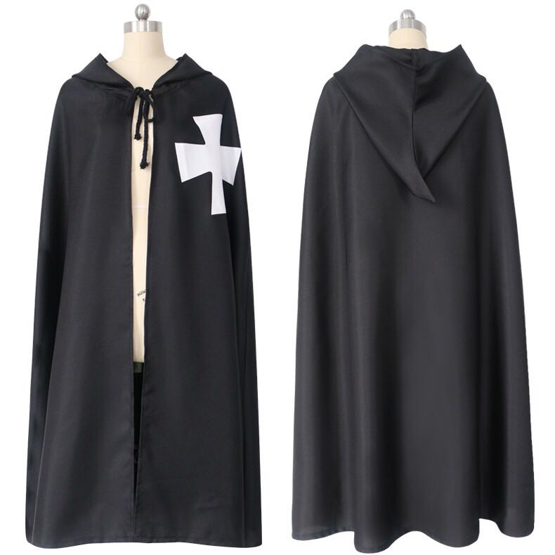 Hot Sale Halloween Medieval Costume Clothing Black Knights Costume Hospitaller Tunic Cloak Cape Men Gothic White Cross Robe
