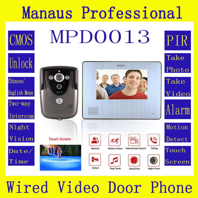 D13C 7Color Touch Screen Video Door Phone with PIR Record intercom System RFID Keyfob IR Camera max to support 32G SD card