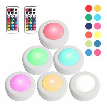Dimmable RGB LED Under Cabinet Light Touch Sensor LED Puck Lamp For Closet Showcase Cupboard Drawer Wardrobe RGB Lights Lighting