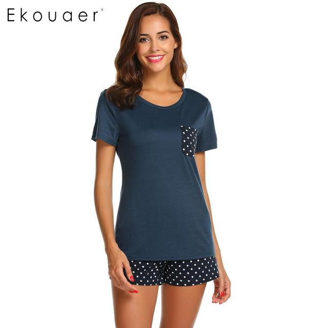 Ekouaer Women Sleepwear Pajamas Sets O Neck Short Sleeve Tops Dot Pocket Shorts Pajamas Set Ladies Casual Home Nightwear