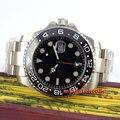 43 мм bliger стерильный черный циферблат красный GMT светящееся окошко даты стальной корпус сапфировое стекло автоматические мужские часы P350