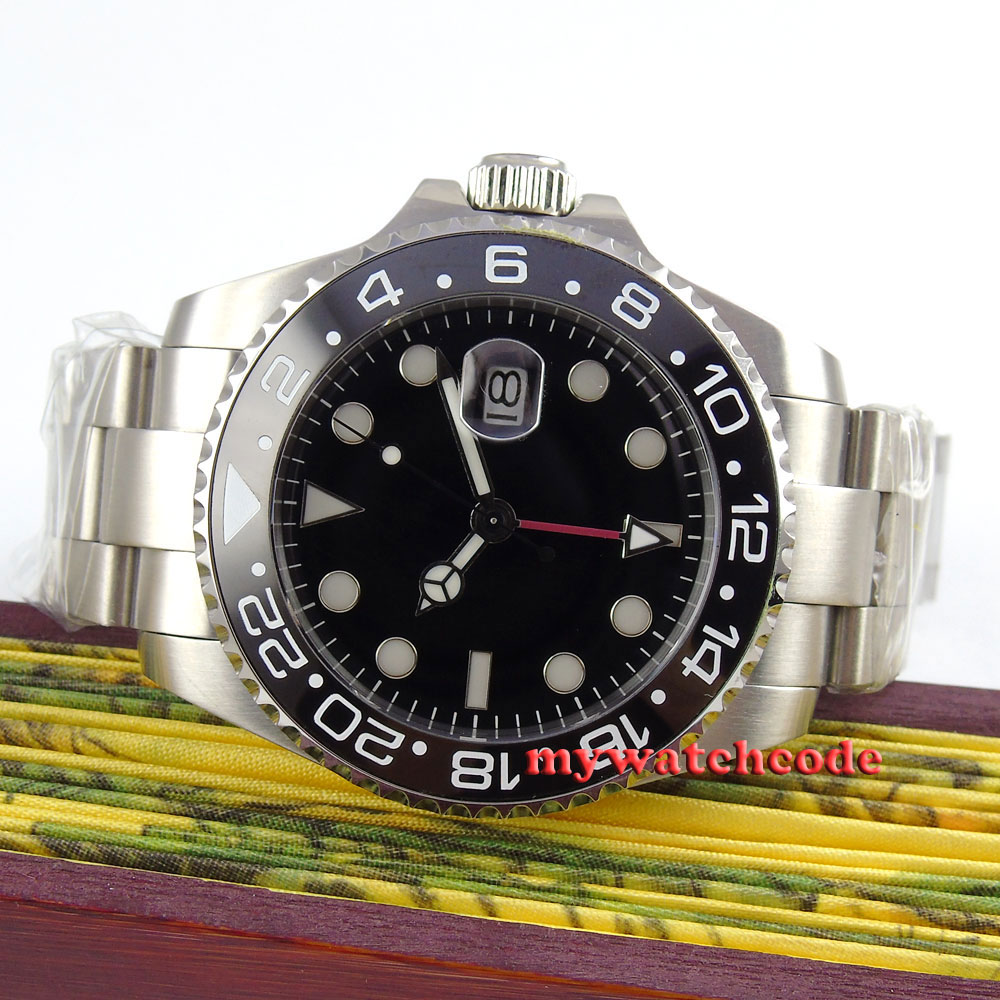 43mm bliger sterile black dial red GMT luminous date window steel case sapphire glass automatic mens watch P350 цена и фото