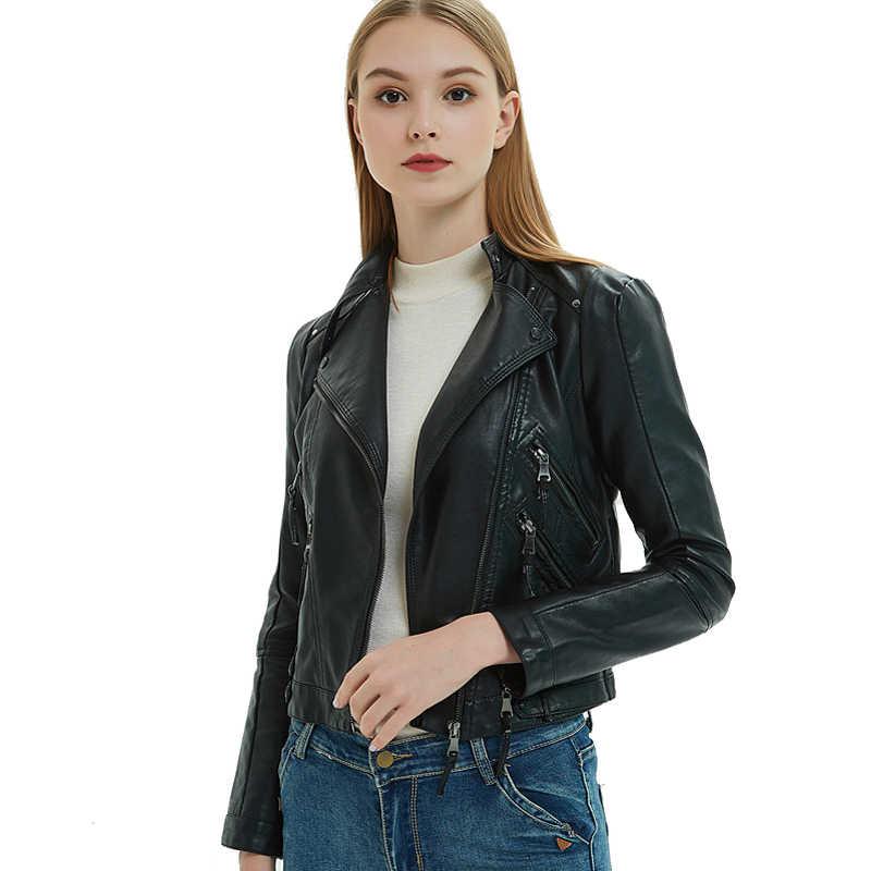 Pu Learher kurtki kobiety 2019 wiosna europejskiej czarny motocykl płaszcz krótki Faux skórzana kurtka Biker chaqueta cuero mujer LX2585
