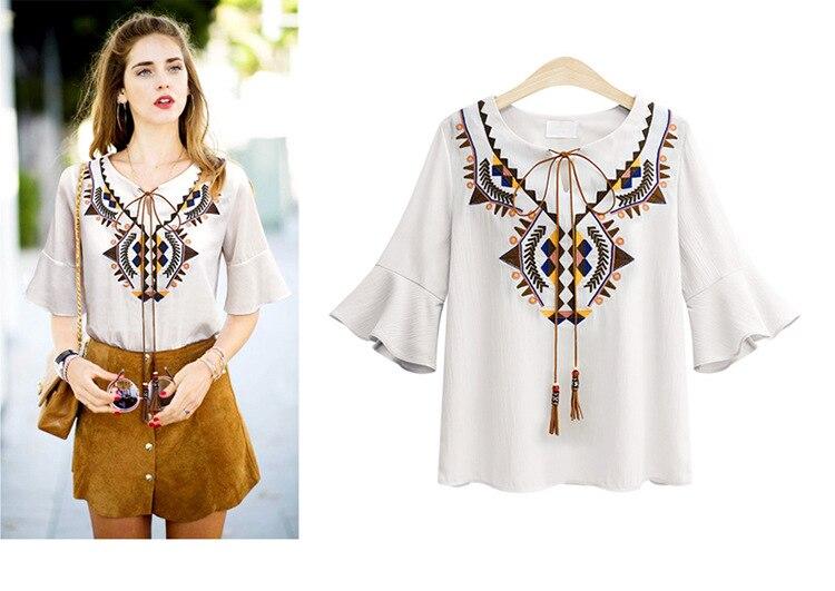 5473072c73ee10 ZYFPGS 2018 Spring Summer Streetwear Woman Blouse Chiffon Geometric V-Neck Shirt  Women Plus Size