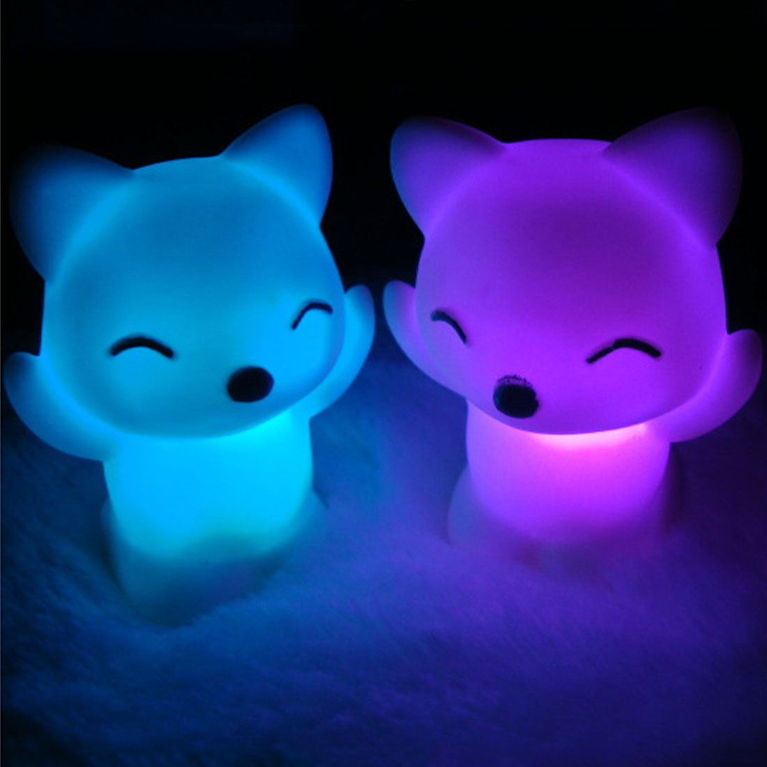 7 Changing Colors Lovely Fox Shape LED Night Light LED Light Button Battery Home Decoration