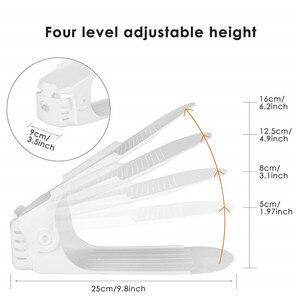 Image 4 - 10 sztuk plastikowe regulowane półki na buty organizator przechowywania, domu dwuwarstwowy uchwyt na półkę dla mężczyzn lub kobiet Organizer na buty biały