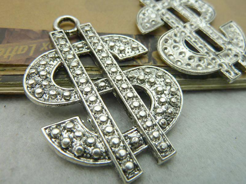 10pcs fashion accessories Vintage Antique Silver Dollar Sign Charm Pendant Findings DIY Jewelry Making
