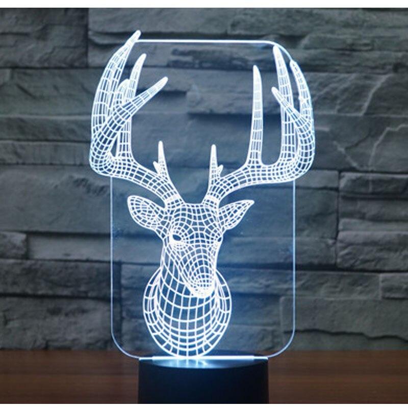 3D HA CONDOTTO LA Luce di Notte Cervo con 7 Colori di Luce per La Decorazione Domestica Lampada Incredibile Visualizzazione Optical Illusion Impressionante