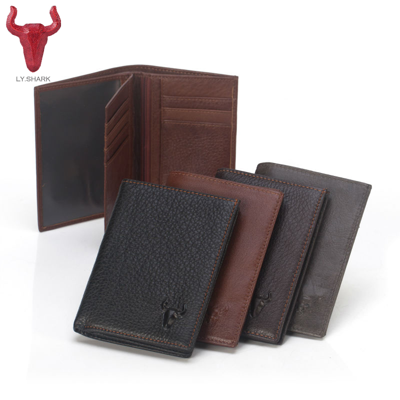 LY.SHARK Men Wallets Genuine Leather wallet male purse Zip Coin pocket Bags Card holder designer famous brand Casual Purse Large