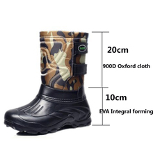 Winte Men's Shoes EVA Motorcycle Boots Men Waterproof Fishing Work Shoes Mid-Calf High Rain Boots Warm Fur Snow Boots Outdoors