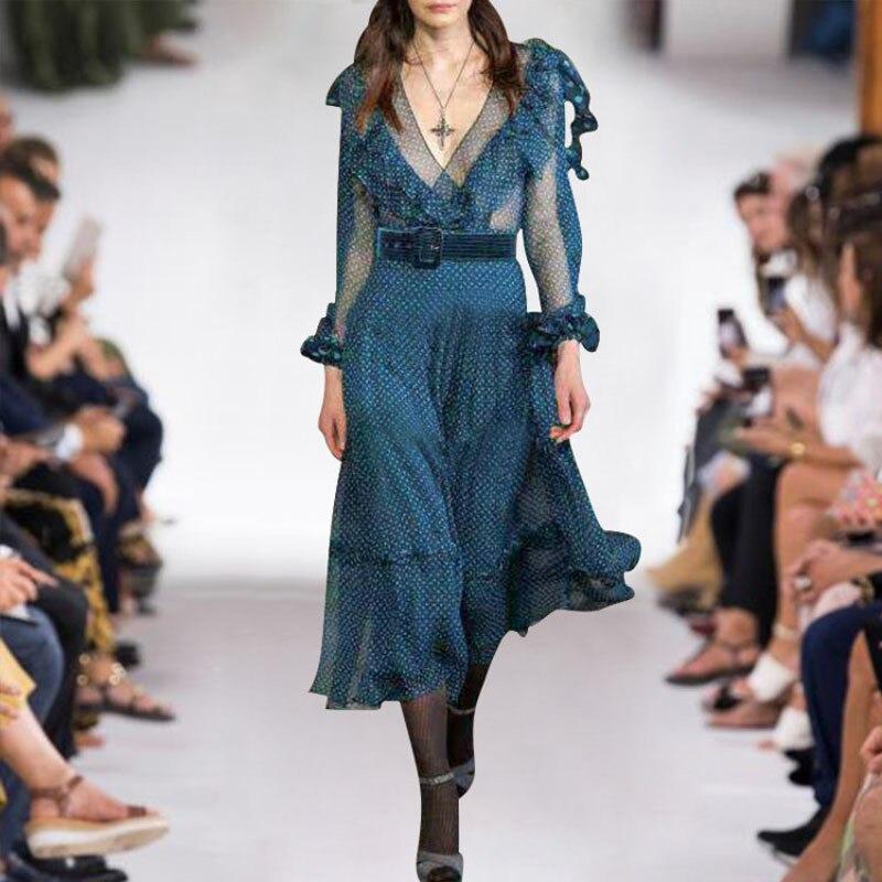 efefe346c7d CHEAP Top Brand Fashion Runway Dress Women 2019 New Spring Long ...
