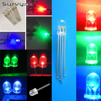 5-100PCS F5/F10 Round LED 5/10mm RGB 4pin Common Anode/Cathode Clear Green Blue Red image