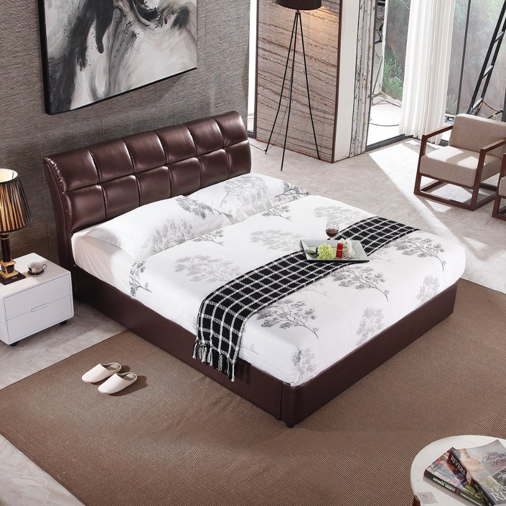 RAMA DYMASTY genuine leather soft bed modern design bed bett, cama fashion king/queen size bedroom furnitureRAMA DYMASTY genuine leather soft bed modern design bed bett, cama fashion king/queen size bedroom furniture