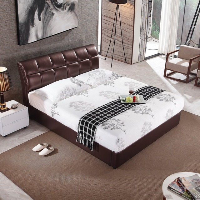 Rama Dymasty Genuine Leather Soft Bed Modern Design Bett Cama Fashion King Queen Size Bedroom Furniture