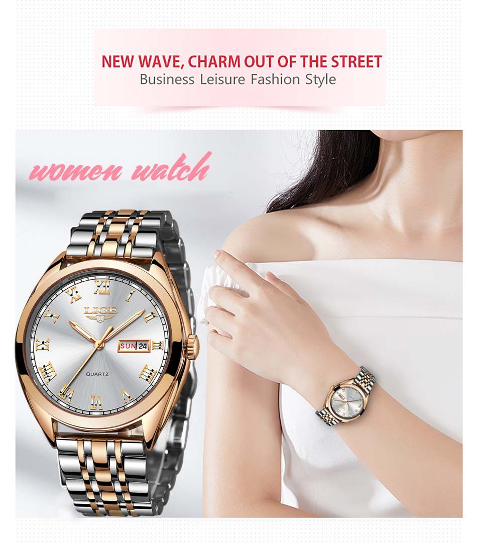 LIGE New Rose Gold Women Watch