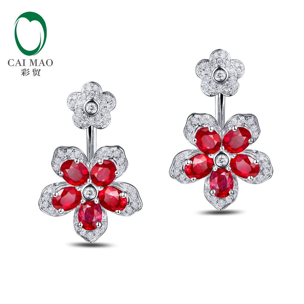 585 White Gold 282ct Natural Red Ruby 037ct Round Cut Diamond  Engagement Gemstone Earrings Jewelry