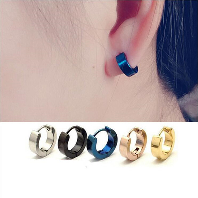 New Trendy Women Stud Earrings High Polished 316l Stainless Steel Simple Cool Men Z590