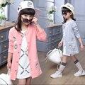 Primavera criança meninas roupa das crianças longo camisola jaqueta de beisebol para meninas roupa dos miúdos casacos esportivos hoodies sweatershirts
