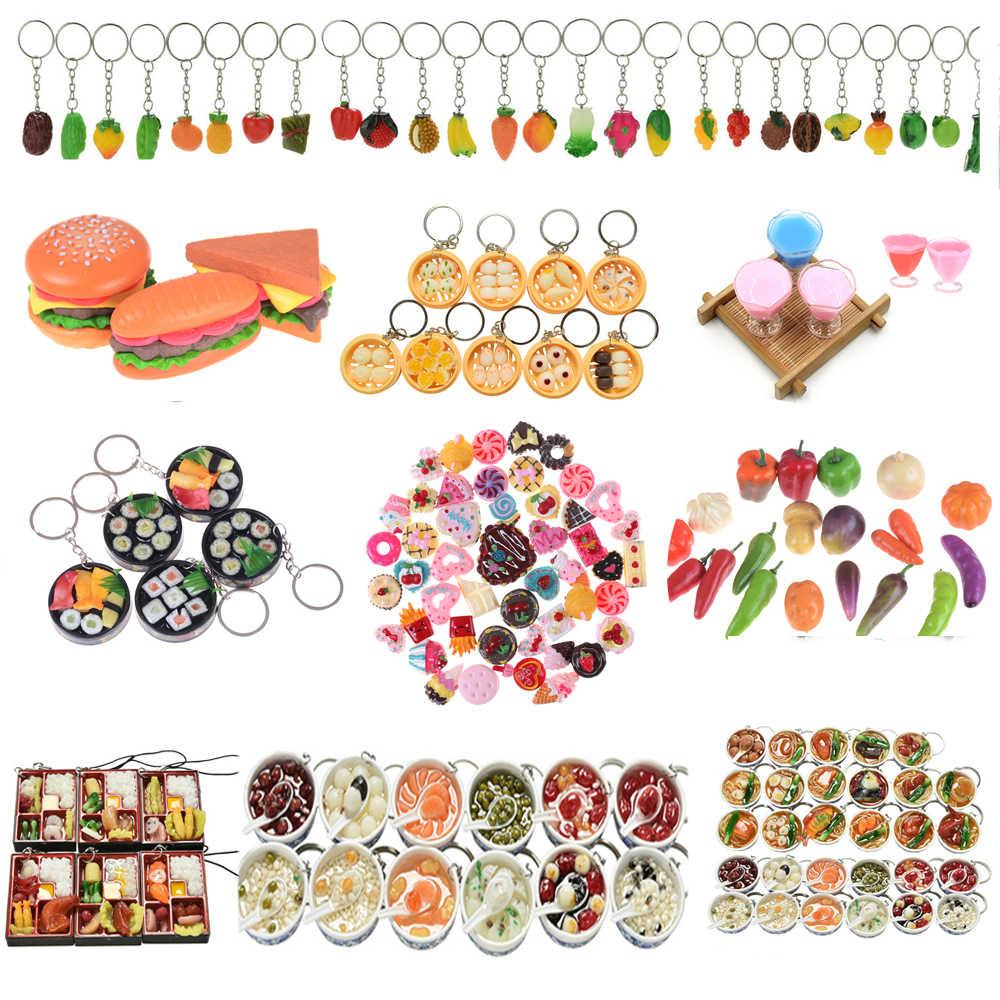 DIY pastel llavero decoración Micro paisaje mundo ornamento creativo alimentos frutas vegetales hamburguesa Chips adornos musgo