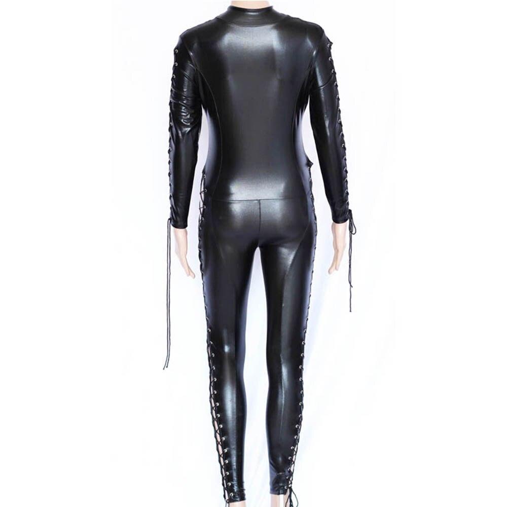 Seksi Wetlook Catsuit Faux Deri Tulum Kadınlar Dantel-up Bodycon - Bayan Giyimi - Fotoğraf 5