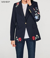 WISHBOP 2017 Fall Woman Navy Floral Embroidered Blazer Single Button Long Sleeved Cuffs With Gold Buttons